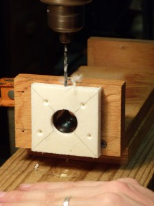 Drilling the holes for the adjustment screw