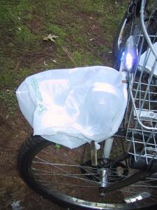 plastic bag covering motor