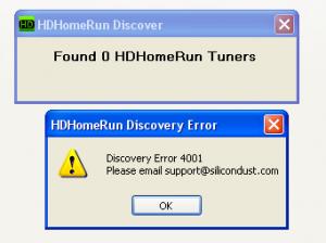 SiliconDust HDHomeRun Discovery error 4001
