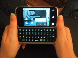 Motorola Backflip (folded open, ready to use keyboard)
