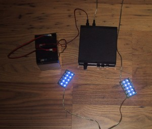 Batteries, LEDS1 driver box, and two 10 LED boards wired up and working.