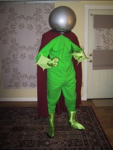 Front view of costume with plastic sphere