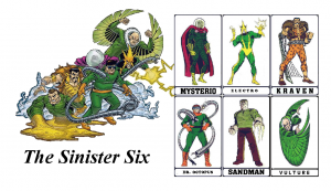 Front of a business card with the sinister six on it