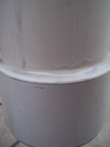 PVC pipe and cap, with join double sealed with epoxy