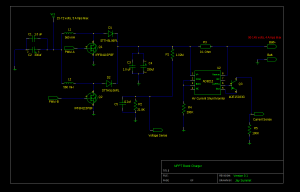 Schematic showing a 2 phase boost controller with voltage and current sense
