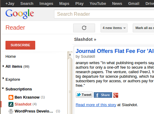 Default Google Reader UI with lots of stuff at the top