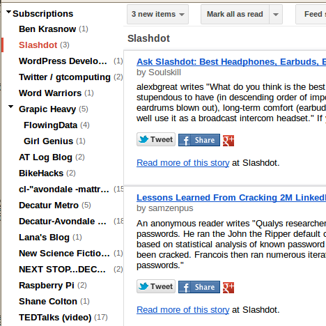 Google Reader after Stylish script to give the UI a haircut