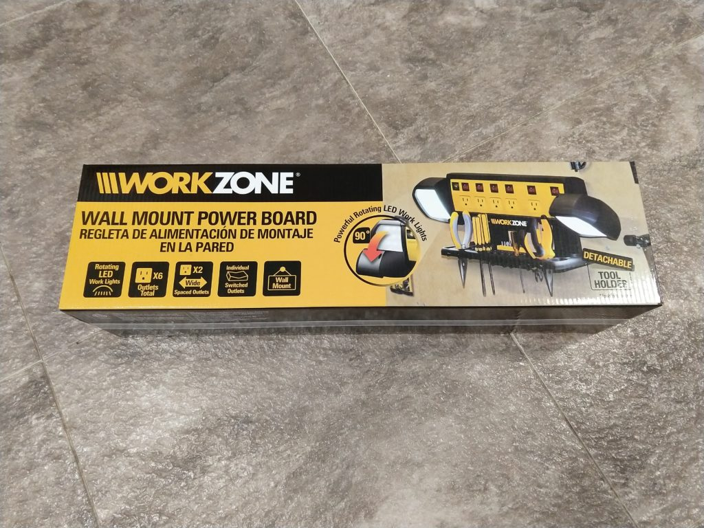 workzone wall mount powerstrip with lights and detachable tool holder