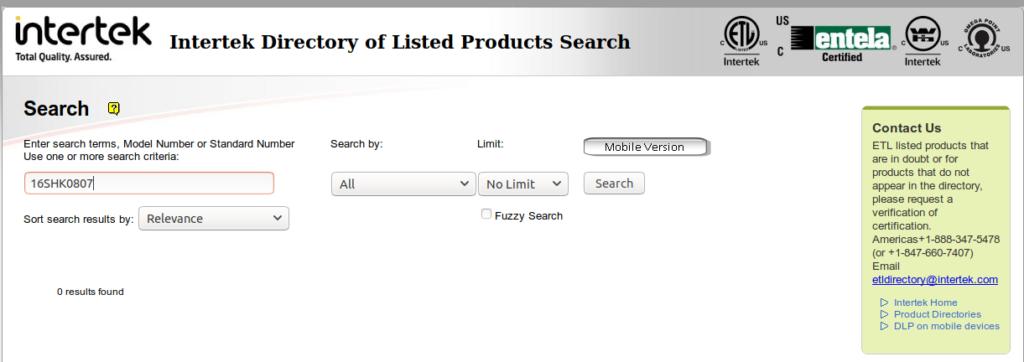 no results found on main intertek (US) website