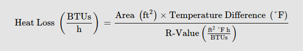 equation for calculating heat loss in btu/hours